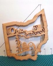 Ohio, Wooden Trivet, Shape of Ohio, Made By Amish, Great Details, collectible