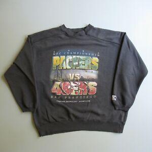 Vtg 90s Starter Packers 49ers Football Faded Worn Sweatshirt Shirt xl