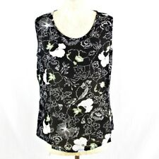 Women Floral Sheer Sleeveless Summer Top Tank Vest 12 Black Classic Floaty