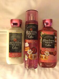 "Bath And Body Works "" Strawberry Pound Cake "" Mist, Shower Gel & Lotion"