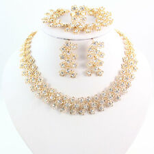 Fashion Bridal Wedding 18K Gold Plated Crystal African Costume Dubai Jewelry Set