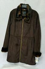 NWT $420 JONES NEW YORK DARK BROWN FAUX SHEARLING COAT  Size M LARGE COLLAR L59