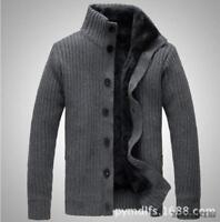 Mens Woolen Jacket Fleece Lined Stand Collar Thicken Warm Sweater Cardigan Parka