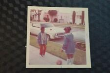 Vintage Car Photo Boy & Girl Play by 1969 Chevrolet Chevy Impala 865