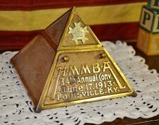 1913 HMMBA PYRAMID INKWELL LIBBY MCNEILL & LIBBY CUTS Advertising Brass Copper