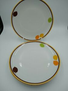 Rachel Ray Little Hoot Dinner Plates x 4 Brown Orange and Green Leaf