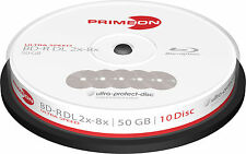 100 PRIMEON BD-R DL 50GB 8x ultra protect disc Blu-ray Double Layer Spindel