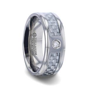 Light Gray Carbon Fiber & White Diamond Titanium Ring with Beveled Edges - 8mm
