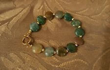 FASHION MULTI COLOR JADEITE BEAD BRACELET WITH 14K GOLD FILLED BEADS $26.99!