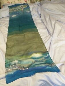 Long silk scarf  hand painted  , signed see pic great design  lovely colours