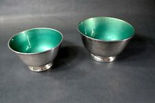 Mid Century Modern Set of 2 Towle Silver Plated Textured Green Enamel Bowls