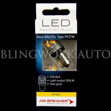 (PAIR) JW Speaker LED PY21W BAU15s BRIGHT AMBER Bulb for Indicator Turn Signal