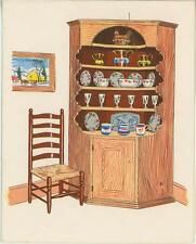 VINTAGE CORNER CUPBOARD WICKER CHAIR GLASSES DISH  PRINT 1 GREEN HOUSE NOTE CARD
