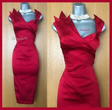 Karen Millen UK 12 Red Origami Satin Knee Length Wedding Cocktail Midi Dress 40