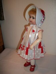 "11"" Bleuette  ""Be My Valentine"" Hanky Dress, Slip, Bonnet  No Doll"