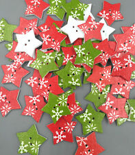 20PCS Christmas Wooden Buttons- Pentagon Star-Sewing - Scrapbooking 2-Hole 25mm