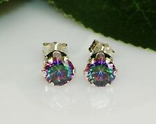 Rainbow Fire Mystic Topaz Round Diamond Cut Sterling Silver Stud Earrings