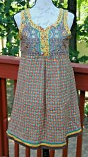 BIBA Size 34 Tunic Sequin Multi Color Floral Sleeveless Vintage Dress (AO)