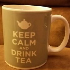Keep Calm and Drink Tea slate blue ceramic mug, NEW