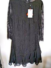 Little Mistress black lace ruffle dress size 16 bnwt ref mx14