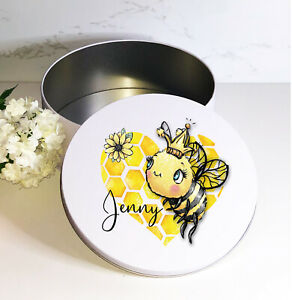 Bumble Bee Heart, personalised, round white biscuit sweets cake tin