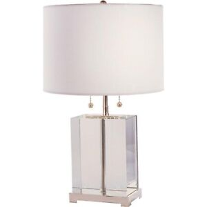 Visual Comfort Block Small Crystal Table Lamp with Cotton Shade RRP£410 now £150