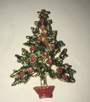 Vintage Brooch Pin Gold Tone Metal Christmas Tree Enamel Painted Red Green Gold