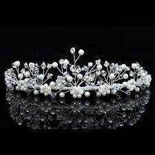 Handmade Bridal Butterfly Flower Rhinestone Crystal Pearl Wedding Tiara 7786