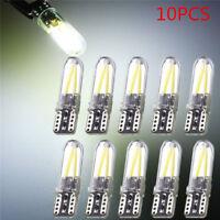 10pcs T10 194 168 W5W COB CANBUS Silica Bright Glass License Light LED Bulbs New