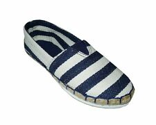 NEW! AVA WOMEN'S ESPADRILLE FLATS/ SHOES (BLUE STRIPES, SIZE #5)