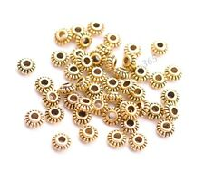 100Pcs Tibetan Silver/Bronze Roundelle Spacer Beads Jewelry Findings 6MM  BE3023