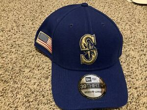 Seattle Mariners MLB Flag Patch 39thirty Hat Men's Size: M/L Royal BLue