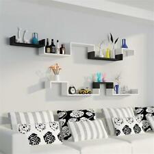 Set of 3 Floating Display Shelves Ledge Bookshelf Wall Mount Storage-black