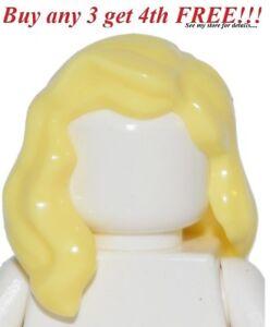 ☀️NEW Lego Minifig Hair Female Girl Yellow Light Blonde Wavy Style Friend Head