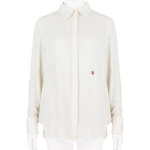 Alexander McQueen Ivory Cream Silk Crepe Shirt Blouse IT44 UK12