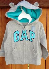 Baby Gap Bear arch Logo Zip Hoodie SZ 6-12 M 6M light heat (gray) Jacket Boys