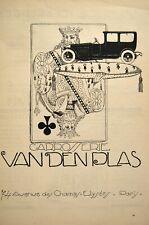 LITHO carrosserie automobile VAN DEN PLAS  publicité art déco 1930 roi de trèfle