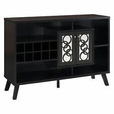 Dark Brown Wooden Buffet Server Wine Rack Liquor Cabinet Storage Mirror Doors