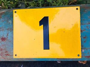 Vintage Sun Yellow Enamel House Number Plate Plaque Sign No. 1 - Large - Great !