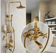Antique Brass Wall Mount Shower Faucet Set Tub Spout Mixer Tap With Bath Shelf