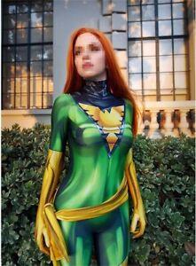X-men Dark Phoenix Jean Grey Jumpsuit Green Cosplay Costume Adult Kids Halloween