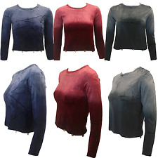 LADIES WOMAN'S VELVET LONG SLEEVE CROP TOP SIZES 6 8 10 12 LESS THAN COST PRICE