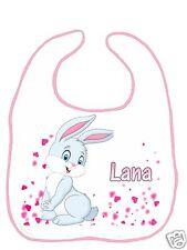 Bavoir bébé blanc bordure rose réf F16 personnalisé avec prénom