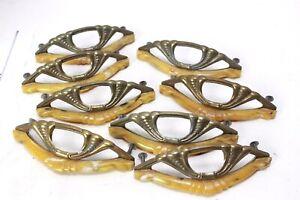 9 VINTAGE METAL & BAKELITE CABINET DRAWER PULLS HANDLES Art Deco