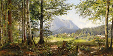 Excellent Oil painting Vitality summer forest landscape very beautiful canvas