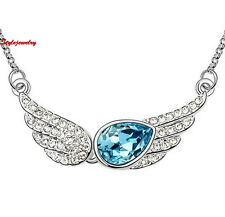 18k White Gold Filled Blue Angle Wing Necklace Made With Swarovski Crystal N5