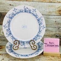 Vintage Arcopal France GLENWOOD Milk Glass Blue Floral Dinner Plates Set of 3