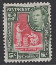 ST.VINCENT SG158 1938 5/= SCARLET & DEEP GREEN MTD MINT