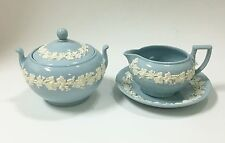 1950S VINTAGE WEDGWOOD 2 PC SET,BLUE+WHITE CREAMER+SAUCER,SUGAR QUEENS-WARE