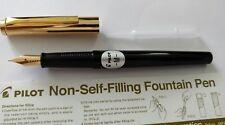 Pilot 'Tank' Non-Self-Filling Fountain Pen - Medium Nib- eye dropper - Black